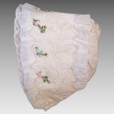Antique Edwardian FRENCH Baby Bonnet/Baby Cap - Silk, Lace and French Ribbonwork Trim!