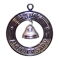 Sterling Silver Disc Charm - Happy Anniversary with Bell