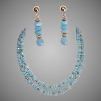 Chalcedony Bead Necklace Earrings Set