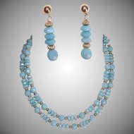 """Vintage FACETED CHALCEDONY & Gold Filled 28"""" Necklace and Drop Earrings!"""