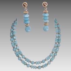 Vintage JEWELRY SET - Necklace, Earrings, Faceted Chalcedony, Gold Filled Findings