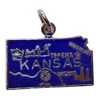 Sterling Silver Enamel USA State Charm - Kansas