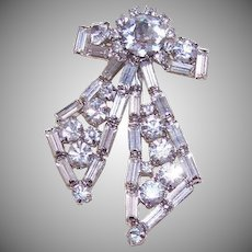 Vintage COSTUME Pin - Silver Tone Metal, Clear, Rhinestone, Bow, Brooch