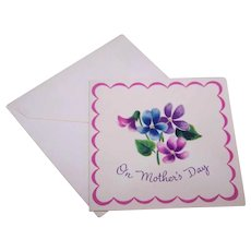 MOTHERS DAY C.1950 Violets Gift Card (Small) by Norcross!