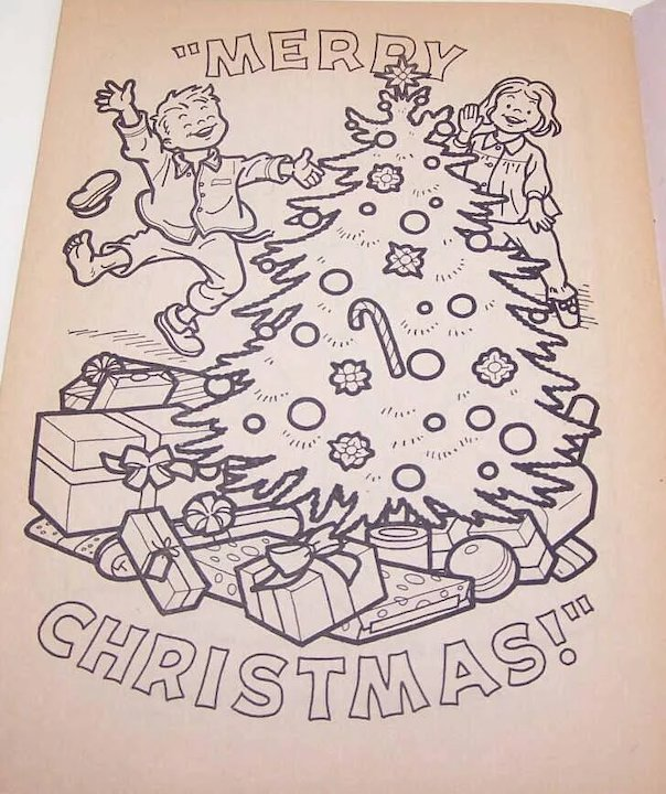 c1965 newberrys christmas village coloring book never used