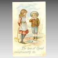 VICTORIAN Sunday School Card - The Love of Christ Constraineth Us!