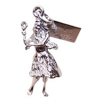 Solid Bell Trading Post Sterling Silver Souvenir Charm - Hawaiian Hula Dancer