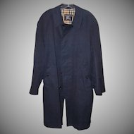 Mens 1960s Classic BURBERRYS Navy Blue Raincoat, Mackintosh!
