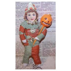 Vintage HALLOWEEN Spun Cotton Ornament - Clown with Pumpkin Head Pick!