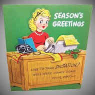 "UNUSED C.1960 Christmas ""Pull Down"" Card - Secretary at Her Desk - Like to Take Dictation!"