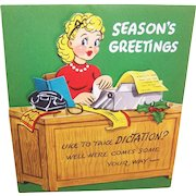 """UNUSED C.1960 Christmas """"Pull Down"""" Card - Secretary at Her Desk - Like to Take Dictation!"""