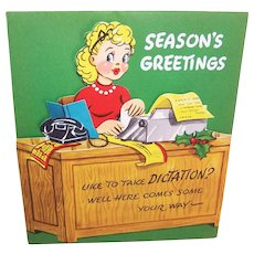 """Unused C.1960 Christmas """"Pull Down"""" Card - Secretary at Her Desk - Like to Take Dictation"""
