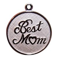 Beau Sterling Silver Disc Charm - Best Mom