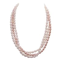 Triple Strand Freshwater Pearl Necklace - Cream & Peach Pearls