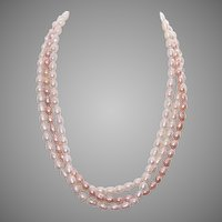 Vintage FRESHWATER PEARL Necklace - Triple Strand, Gold Filled Clasp, Cream & Peach Pearls