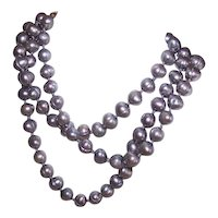 """Silver/Grey 31"""" Freshwater Cultured Pearl Necklace with Gold Filled Clasp"""