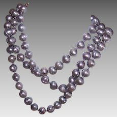 Vintage Silver/Grey FRESHWATER PEARL Necklace with Gold Filled Clasp!