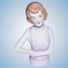 Art Deco GERMAN Porcelain Half Doll - 1/2 Doll - Brunette with Pink Top!