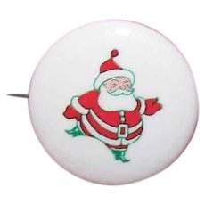 1950s RETRO MODERN Celluloid Pin - Christmas, Santa Claus, Pinback, Brooch