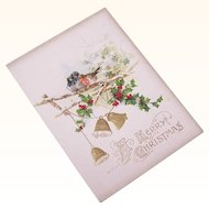 Unused VICTORIAN Embossed Greeting Card - A Merry Christmas!