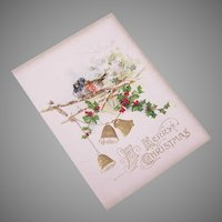 Unused Victorian Embossed Greeting Card - A Merry Christmas