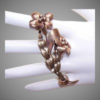 RETRO MODERN Gold Filled on Silver Floral Pin/Floral Brooch!