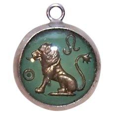 Vintage Sterling Silver Lucite Bubble Charm - Leo the Lion Zodiac Sign