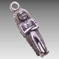 Vintage Bell Trading Post STERLING SILVER Charm - Indian Chief!