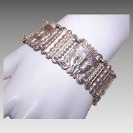 Vintage MEXICAN Sterling Silver Link Bracelet - Tribal God Faces!