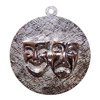 Sterling Silver Charm - Disc Charm - Comedy Tragedy Masks