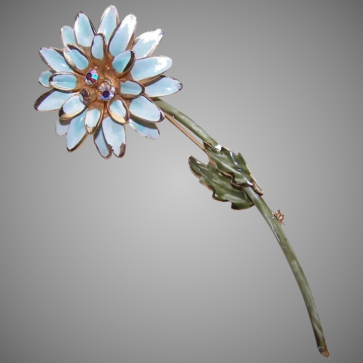 Vintage COSTUME Pin - Gold Tone Metal, Blue Enamel - Lovely Floral with  Leaves!