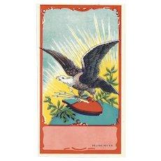 Vintage UNUSED Broom Label - Red, White & Blue with American Eagle!
