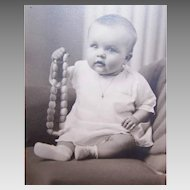 Dtd 1943 B&W Photo in Original Holder - Baby Girl with Bakelite Necklace!