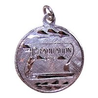 Sterling Silver Disc Charm - Unengraved Graduation Diploma
