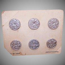 Casa de Leon VINTAGE BUTTONS on Original Card - 6 Silver Colored Florals!