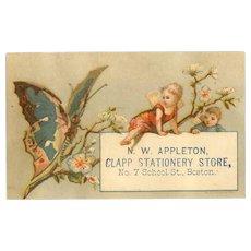 VICTORIAN Trade Card for N.W. Appleton, Boston, Mass - Fairies & Butterfly!