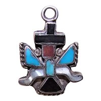 Native American Sterling Silver Stone Inlay Knifewing Eagle Dancer Charm