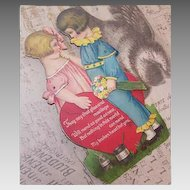 """C.1925 GERMAN Mechanical Valentine - 9"""" High - Boy Offering Flowers to a Girl!"""