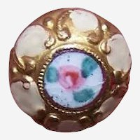 Vintage FRENCH Brass & Enamel Button - Pink Floral on White Background!