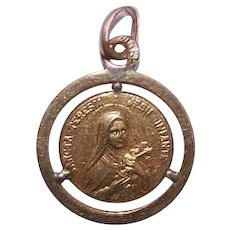 Vintage FRENCH 18K Gold Filled Medal or Charm - St Therese - Saint Thérèse of Lisieux!
