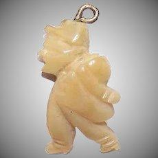 Vintage CELLULOID Charm - European, Souvenir, Carved, Walking Man