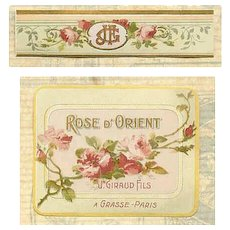 "French Art Nouveau Paper Cologne Label ""Rose D'Orient"""