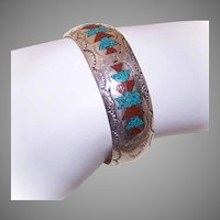 Native American Sterling Silver Turquoise Coral Inlay Cuff Bracelet