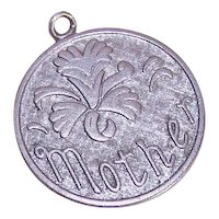 Wells Sterling Silver Disc Charm for Mother - Orchid Flower Front