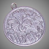Vintage WELLS STERLING Silver Disc Charm - MOTHER with an Orchid!