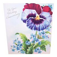 Vintage 1960s Wedding Anniversary Greeting Card - Purple and Maroon Pansy Graphics