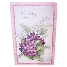 Vintage Unused Greeting Card - A Birthday Wish with Violets