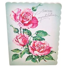 Unused C.1960s Greeting Card - All Occasion Sincere Congratulations with Pink Roses