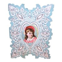 Unused Antique Victorian Valentines Day Card | Little Girl