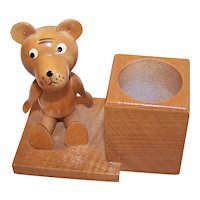 Vintage GDR Hand Painted Wood Teddy Bear Toothpick Holder